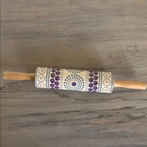 Purple and blue Anthropologie ceramic rolling pin